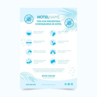 Coronavirus-verhinderungsplakatvorlage für hotels