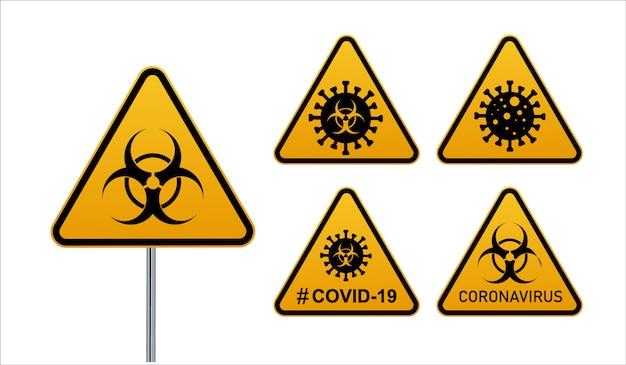 Coronavirus-warnzeichen in einer dreiecks- und warnbandillustration.