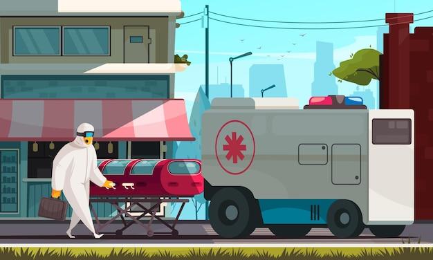 Coronavirus-wohnung mit krankenwagen, der infizierte patienten in einer geschlossenen kapselwohnung trägt
