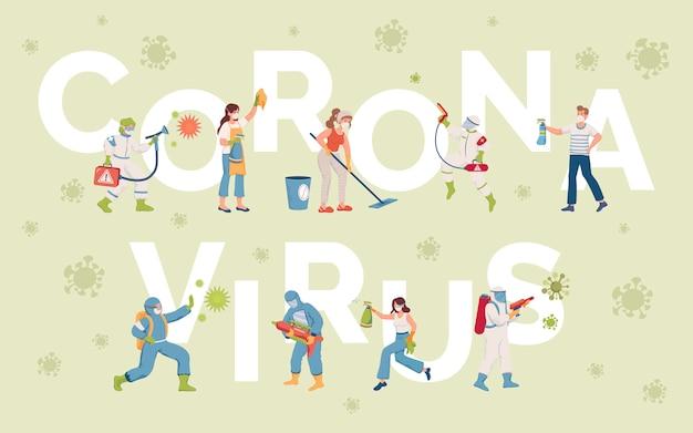 Coronavirus word banner vorlage. menschen, die oberflächen während des ausbruchs des coronavirus desinfizieren.