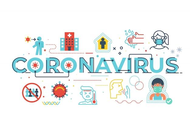 Coronavirus-wortbeschriftungsillustration