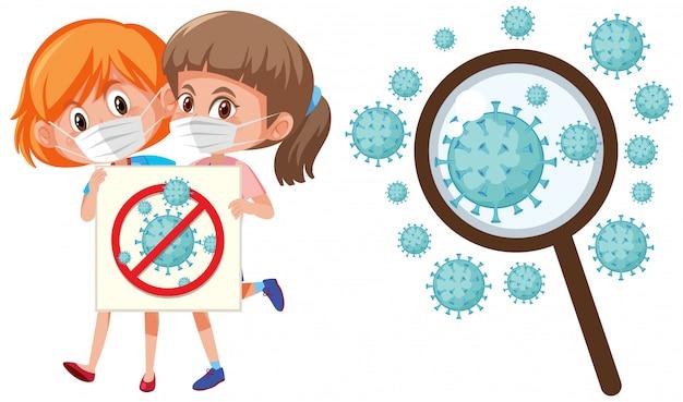 Coronavirus-zellen und zwei mädchen, die maskenschutz tragen