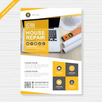 Corporate bauwerkzeuge decken a4 flyer design-vorlage