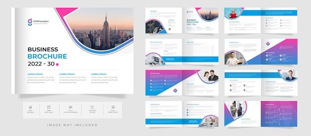 Corporate bifold 16-seitige broschürenvorlage im querformat mit abstraktem firmenprofildesign