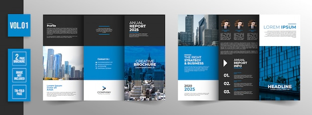 Corporate blue trifold broschüre