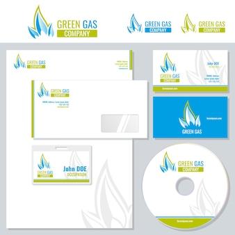 Corporate branding vorlage mit gasindustrie logo.