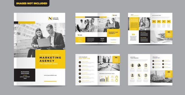 Corporate business brochure design oder jahresbericht oder booklet und catalog design template