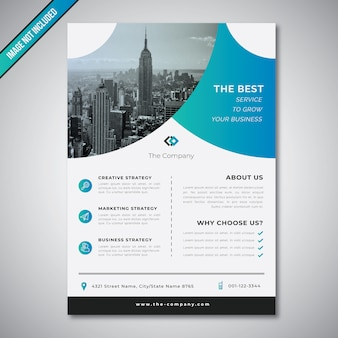 Corporate business flyer farbverlauf blau vorlage