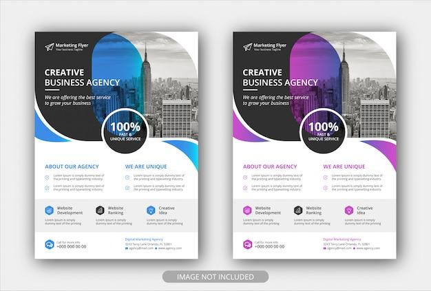 Corporate business flyer vorlage mit verlaufsfarbe