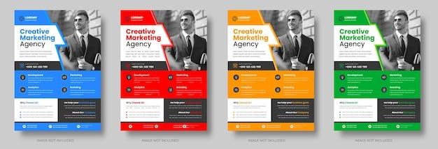Corporate business flyer-vorlagen-design-set mit blau-gelb-roter und grüner farbe