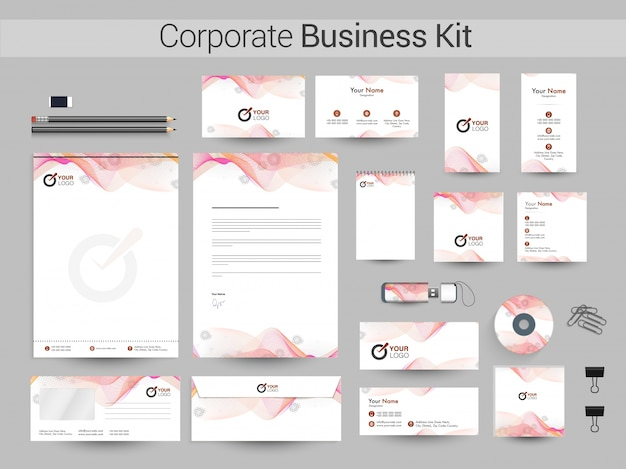 Corporate business kit mit abstrakten wellen.