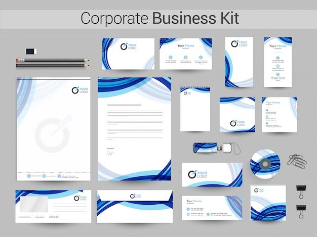 Corporate business kit mit blauen wellen.