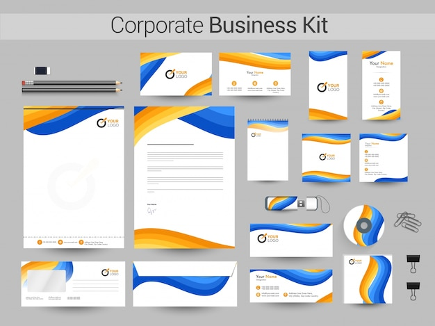 Corporate business kit mit gelben und blauen wellen.