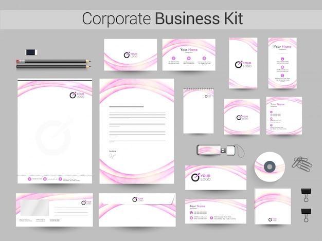 Corporate business kit mit glänzenden wellen.