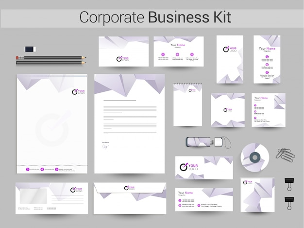 Corporate business kit mit polygonalem element.