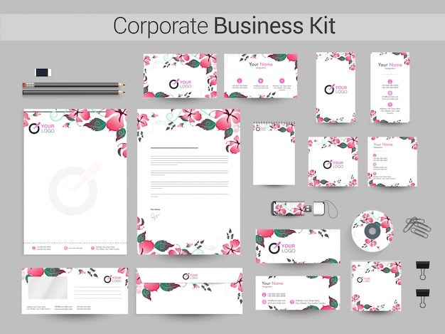Corporate business kit mit schönen blumen.