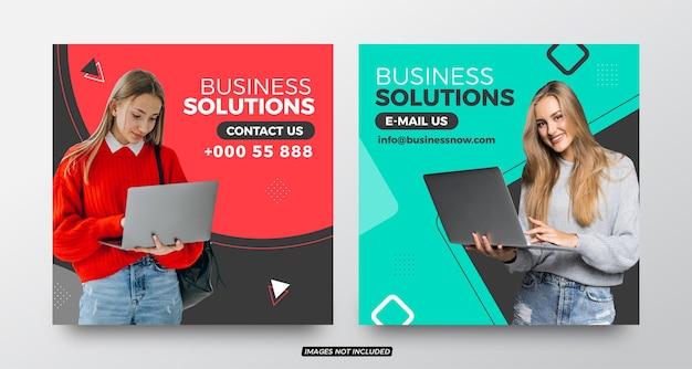 Corporate business-lösungen social media post-vorlagen