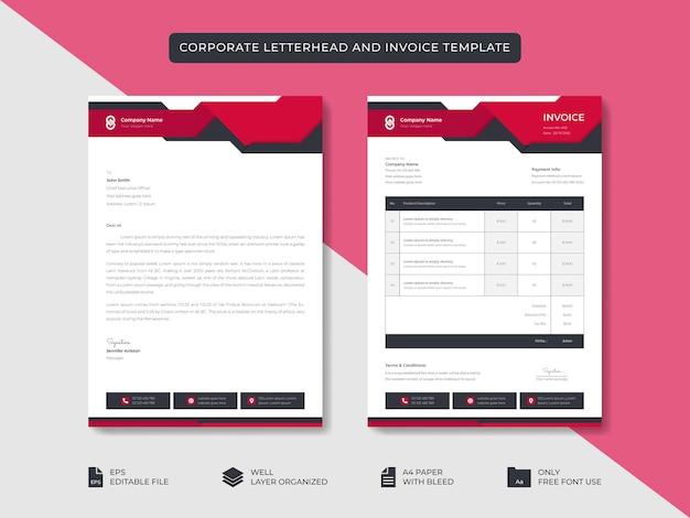 Corporate business minimaler stilvoller briefkopf und rechnungsvorlage business branding identity design