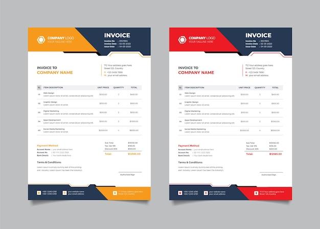Corporate business rechnungsvorlage design mit roter und gelber farbe