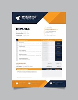 Corporate business rechnungsvorlage design mit schwarzer und gelber farbe