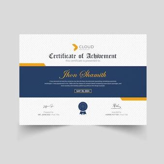 Corporate certificate design mit gelben elementen