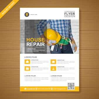 Corporate construction tools decken a4 und flache symbole flyer entwurfsvorlage