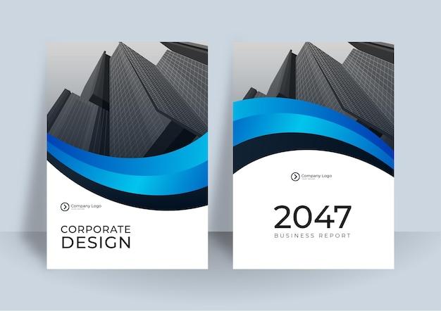 Corporate cover design oder broschürenvorlage hintergrund für business design. moderne business-flyer-layout-vorlage im a4-format. jahresbericht des modernen abdeckungsdesigns mit blauem wellenelement