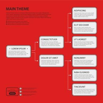 Corporate design vorlage auf rotem hintergrund. schwarz-weiß-farben. nützlich für werbung, präsentationen und webdesign.