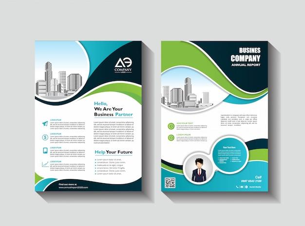 Corporate flyer layoutvorlage mit elementen und platzhalter für bild