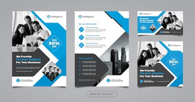 Corporate flyer und social media banner vorlage