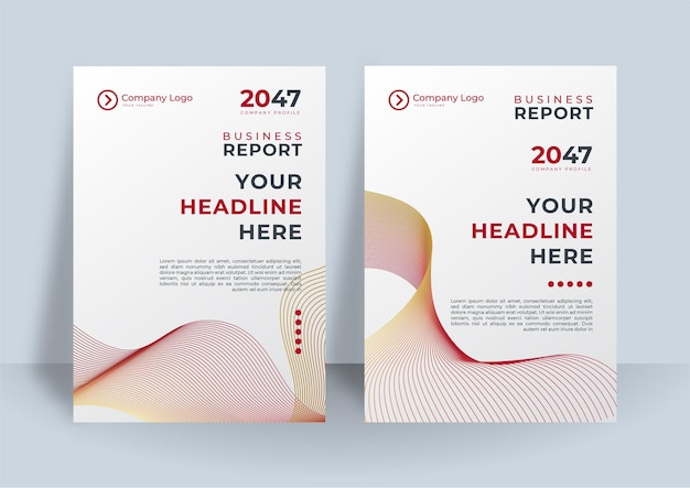 Corporate identity deckt business-vektordesign mit wellenlinienstreifen ab. flyer broschüre werbung abstrakten hintergrund, broschüre moderne poster magazin layout-vorlage, jahresbericht für die präsentation