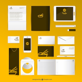 Corporate identity gesetzt mock-up-stil