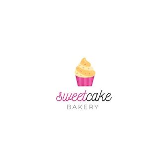 Corporate identity-logo-vorlage des süßen kuchens