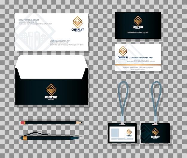 Corporate identity markenmodell, schreibwaren, schwarze farbe mit goldenem schild