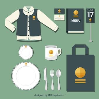 Corporate identity mit einem gelben logo für ein restaurant