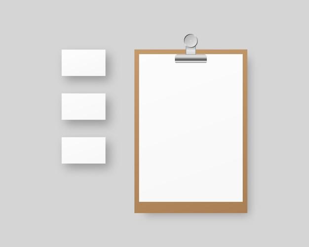 Corporate identity template set. geschäftsbriefpapier mit zwischenablage, papier, visitenkarten. . vorlage . realistische illustration.