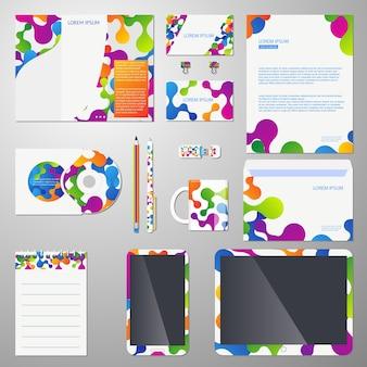 Corporate identity vektor vorlage mit farbiger molekülstruktur. vorlage corporate branding, unternehmensidentitätsmarke, business branding design illustration
