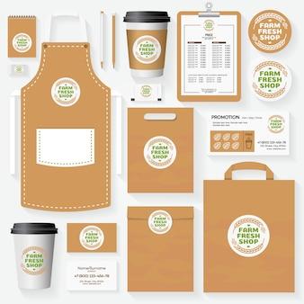Corporate identity-vorlage für farm fresh shop. kartensatz, flyer, menü, paket, uniform.