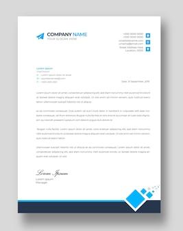 Corporate moderne briefkopf-designvorlage mit blauen formen