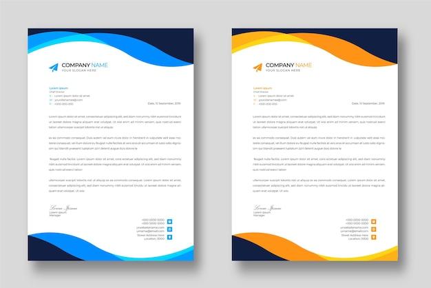 Corporate moderne briefkopf-designvorlage mit blauen und gelben formen Premium Vektoren
