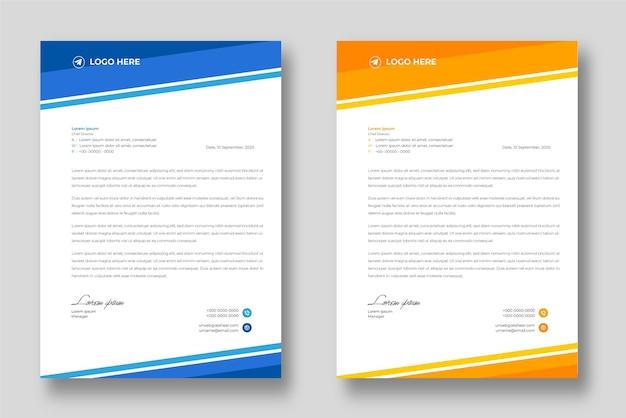 Corporate moderne briefkopf-designvorlage mit blauen und gelben formen