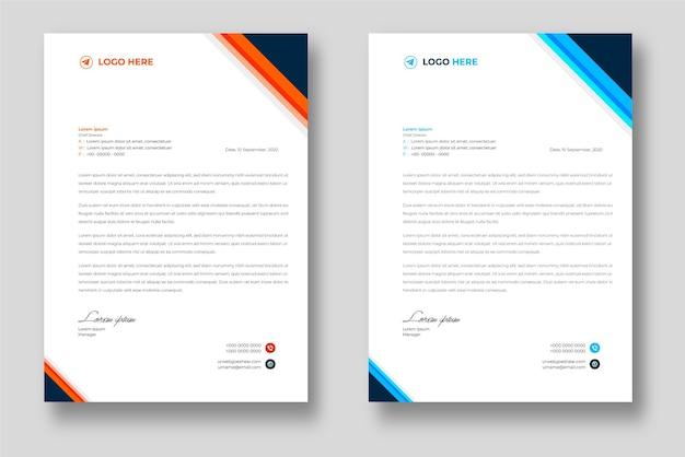 Corporate moderne briefkopf-designvorlage mit blauen und orangefarbenen formen