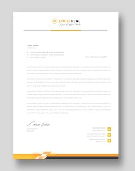 Corporate moderne briefkopf-designvorlage mit gelben formen