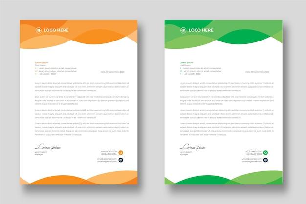 Corporate moderne briefkopf-designvorlage mit gelben und grünen formen