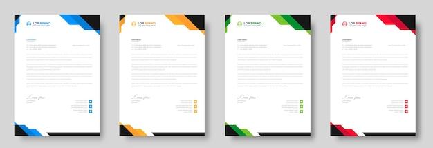 Corporate moderne briefkopf-designvorlage mit roten, blauen, grünen und gelben formen