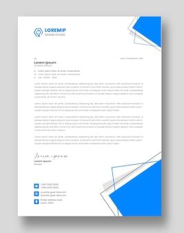 Corporate moderne business-briefkopf-design-vorlage mit blauer farbe