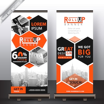 Corporate polygonal roll-up-banner