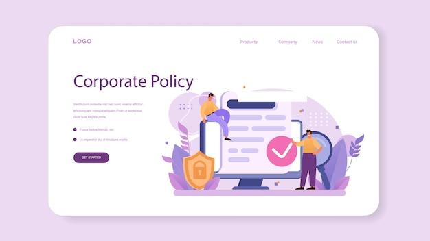 Corporate relations web-banner oder landing page. unternehmensethik. entwicklung der unternehmensorganisation und compliance. kurs zur unternehmenspolitik für mitarbeiter. flache vektorillustration