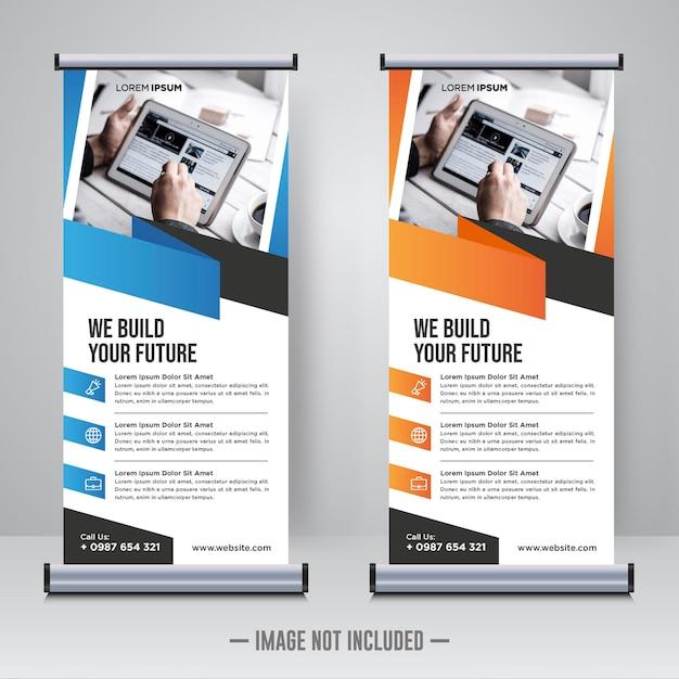 Corporate rollup- oder x-banner-designvorlage Premium Vektoren