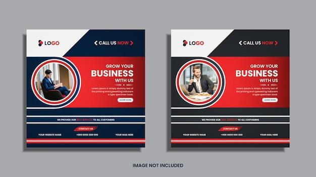 Corporate social media post design mit blauen, roten und schwarzen runden und geometrischen kreativen formen.